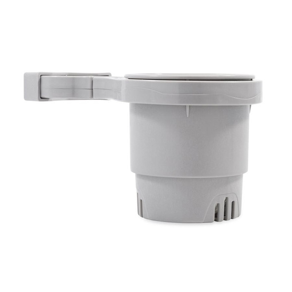 """Camco Clamp-On Rail Mounted Cup Holder - Large for Up to 2"""" Rail - Grey [53092]"""