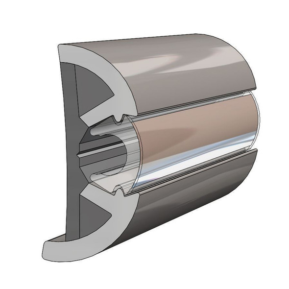 "TACO SuproFlex Rub Rail Kit w\/Flex Chrome Insert - 2""H x 1.2""W x 80L [V11-9990GRD80-2]"