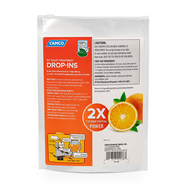 Camco TST MAX Orange RV Toilet Treatment Drop-Ins *10-Pack [41178]