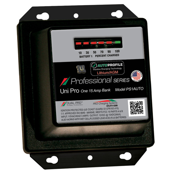 Dual Pro PS1 Auto 15A - 1-Bank Lithium\/AGM Battery Charger [PS1AUTO]