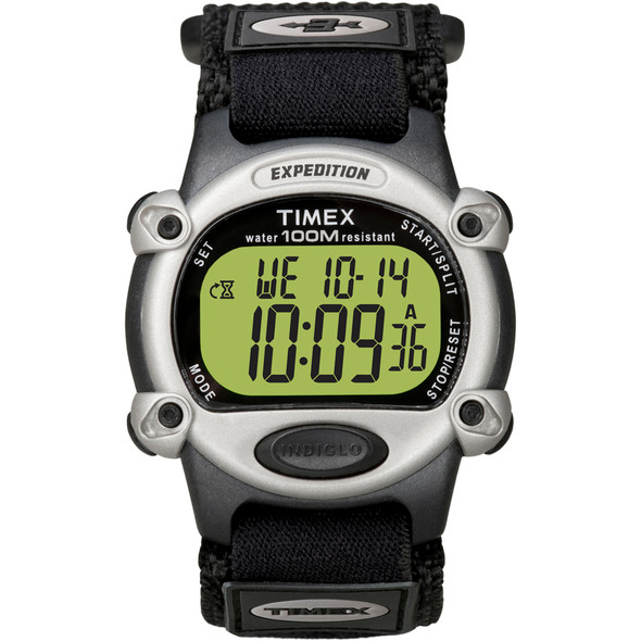 Timex Expedition Mens Chrono Alarm Timer Silver\/Black [T48061]