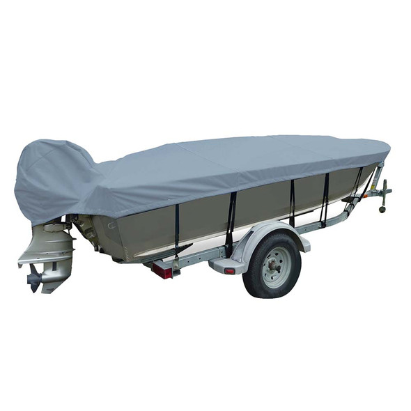 Carver Poly-Flex II Narrow Series Styled-to-Fit Boat Cover f\/14.5 V-Hull Fishing Boats - Grey [70124F-10]