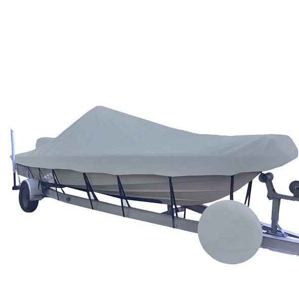 Carver Sun-DURA Styled-to-Fit Boat Cover f\/19.5 V-Hull Center Console Shallow Draft Boats - Grey [71219S-11]