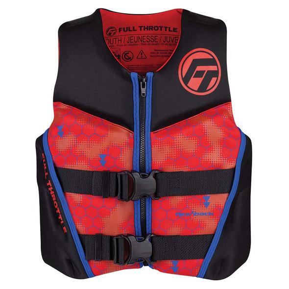 Full Throttle Youth Rapid-Dry Flex-Back Life Jacket - Red\/Black [142500-100-002-22]
