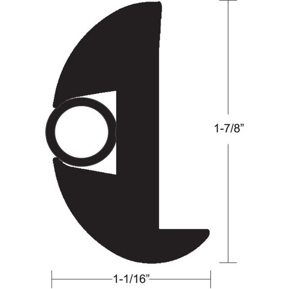 """TACO Flex Vinyl Rub Rail Kit - Black w/Black Insert - 70' - 1-7/8"""" x 1-1/16"""" [V11-2423BBK70-2]"""