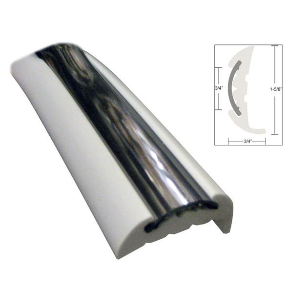 TACO Semi-Rigid Rub Rail Kit - White w/Flex Chrome Insert - 70' [V11-9811WCM70-2]