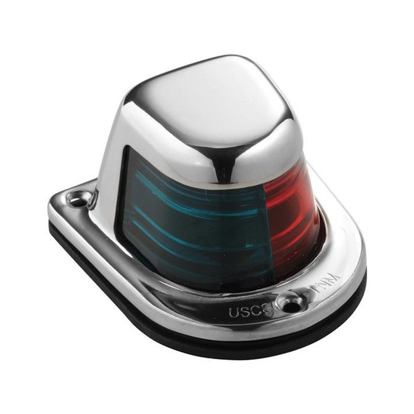 Attwood 1-Mile Deck Mount, Bi-Color Red\/Green Combo Sidelight - 12V - Stainless Steel Housing [66318-7]