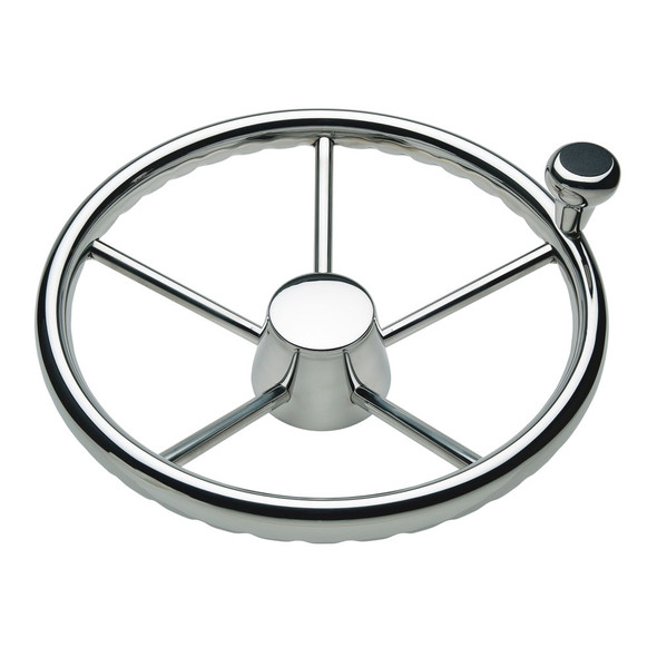 """Ongaro 170 13.5"""" Stainless 5-Spoke Destroyer Wheel w/ Stainless Cap and FingerGrip Rim - Fits 3/4"""" Tapered Shaft Helm [1731321FGK]"""