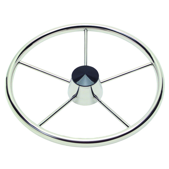 """Ongaro 170 13.5"""" Stainless 5-Spoke Destroyer Wheel w/ Black Cap and Standard Rim - Fits 3/4"""" Tapered Shaft Helm [1721321]"""