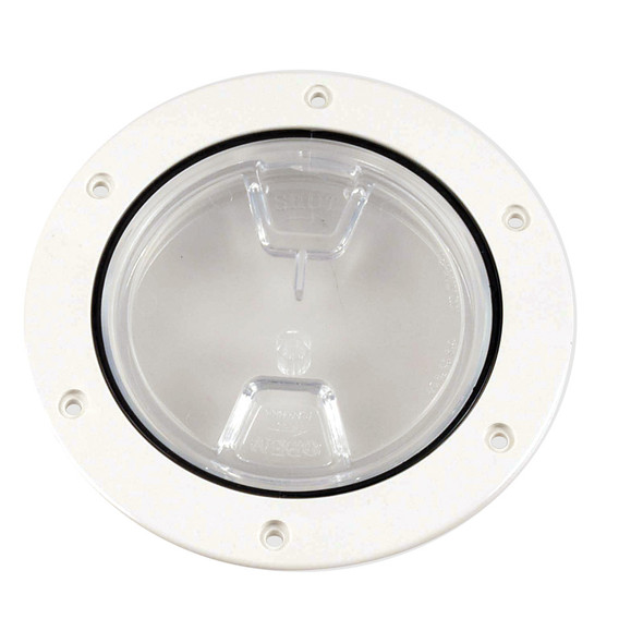 "Beckson 4"" Clear Center Screw-Out Deck Plate - White [DP40-W-C]"