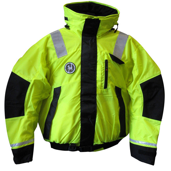 First Watch Hi-Vis Flotation Bomber Jacket - Hi-Vis Yellow/Black - X-Large [AB-1100-HV-XL]