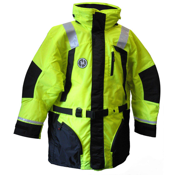 First Watch Hi-Vis Flotation Coat - Hi-Vis Yellow/Black - Large [AC-1100-HV-L]