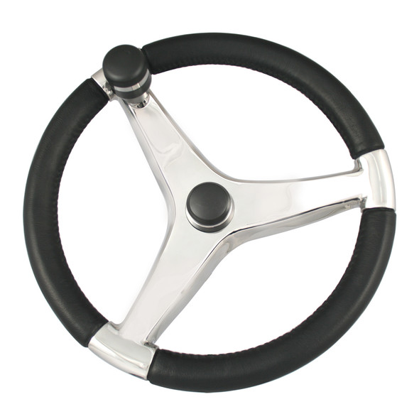 "Ongaro Evo Pro 316 Cast Stainless Steel Steering Wheel w/Control Knob - 13.5"" Diameter [7241321FGK]"