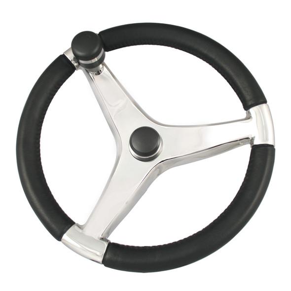 "Ongaro Evo Pro 316 Cast Stainless Steel Steering Wheel w/Control Knob - 15.5"" Diameter [7241521FGK]"