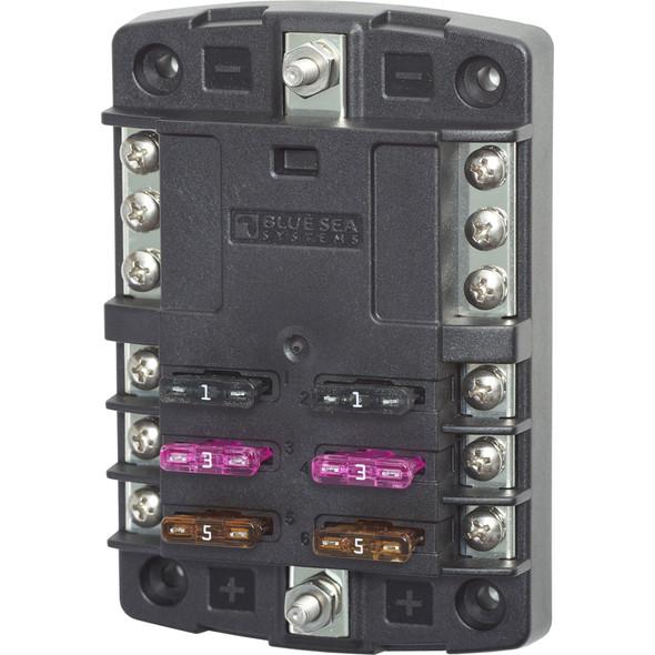 Blue Sea 5030 ST Blade Fuse Block w\/o Cover - 6 Circuit w\/Negative Bus [5030]