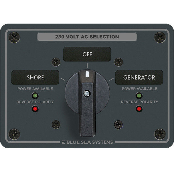 Blue Sea 8357 AC Rotary Switch Panel 65 Ampere 2 Position + OFF, 2 Pole [8357]