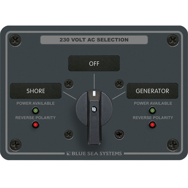 Blue Sea 8359 AC Rotary Switch Panel 30 Ampere 2 Positions + OFF, 2 Pole [8359]