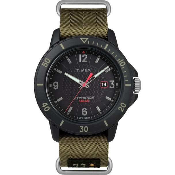Timex Gallatin Nylon Slip-Thru Watch - Solar Green\/Black Dial [TW4B14500JV]