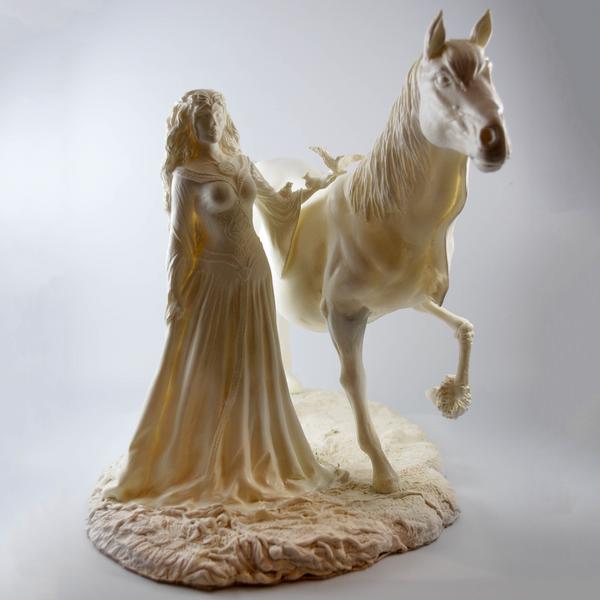 Rhiannon with Mari Llwyd - Hand cast statue