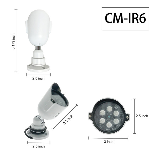 "CMVision IR6 - 6LED Indoor/Outdoor Long Range 60"" beam IR Illuminator"