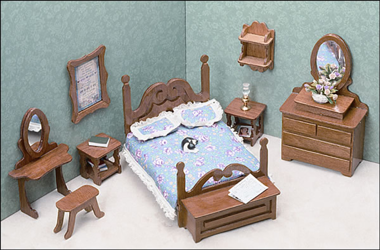 Details about 1/12 Miniature Bedroom Furniture Decor - Bed With Flower  Bedding Kits Pillow
