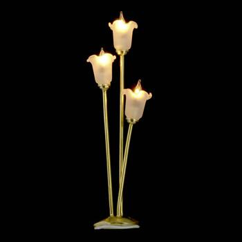 Dollhouse Floor Lights - Three Bulb Tulip Lamp