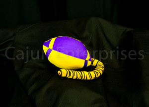 PURPLE & GOLD PLUSH FOOTBALL W/TIGER TAIL