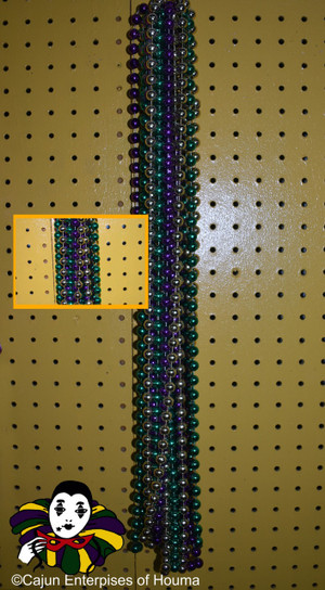"""12MM 48"""" ROUND PURPLE, GREEN AND GOLD"""