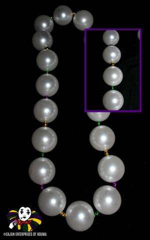 WHITE PEARL W/PURPLE, GREEN & GOLD SPACER