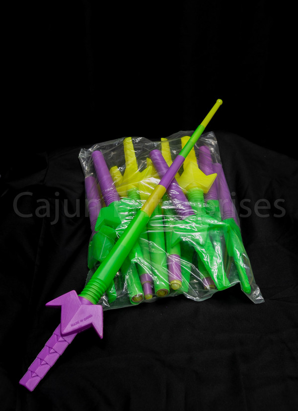 """PURPLE GREEN AND GOLD SECTION SPACE SWORD 5"""""""