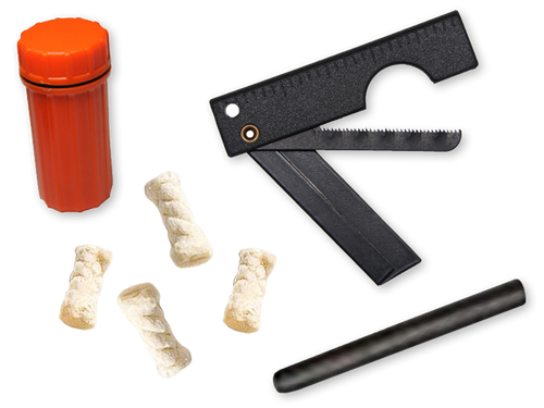 Fire Starter Kit Contents   1-Folding Razor Saw (FRS)  4- Cotton Tinders  1-Flint Rod 60mm x 70mm