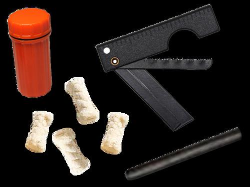 Fire Starter Kit Contents   1-Folding Razor Saw (FRS)  4- Cotton Tinders  1-Flint Rod 60mm x 70mm