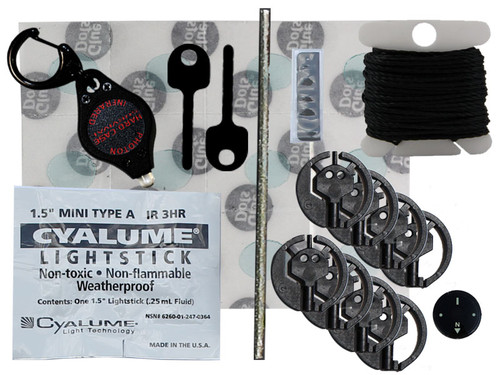 Diamond Wire, IR, Light, 14mm Luminous Button Compass Grade AA, 2 Handcuff Keys Black, 2 Key Style Handcuff Shims, 12 Glue Dots, IR Photon II, Kevlar Cord 20' (Black 188 Cord), Escape & Evasion, Kit, EP-1