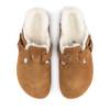Birkenstock Boston Shearling Mink top view - Hanig's Footwear