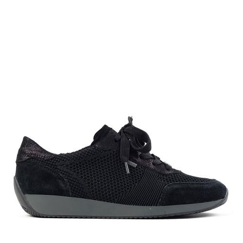 Ara Lila Black fabric side view - Hanig's Footwear