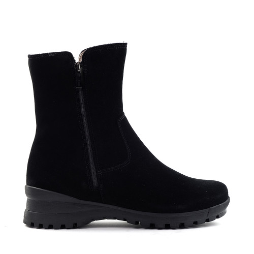 La Canadienne Amy Boot in Black Suede side view - Hanig's Footwear