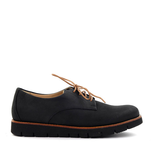 Samuel Hubbard Samsport Oxford Black Nubuck side view -Hanig's Footwear