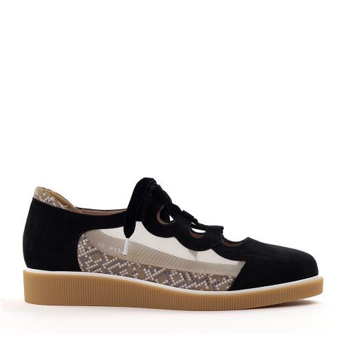 Beautifeel Sage Black Suede side view - Hanig's Footwear