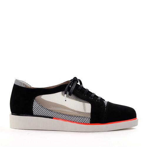 Beautifeel Cadence black suede side view - Hanig's Footwear