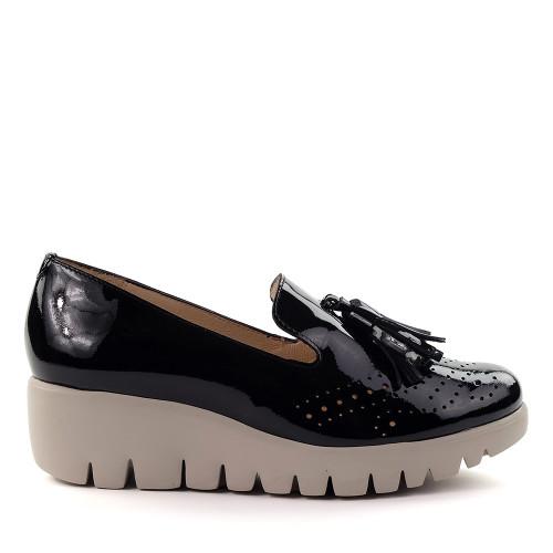 Wonders C-3366 Black Patent side view - Hanig's Footwear