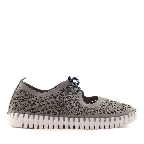 Ilse Jacobsen Tulip Mary Jane Grey/White side view - Hanig's Footwear