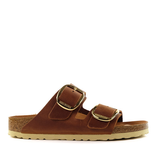 Birkenstock Arizona Big Buckle Cognac side view - Hanig's Footwear