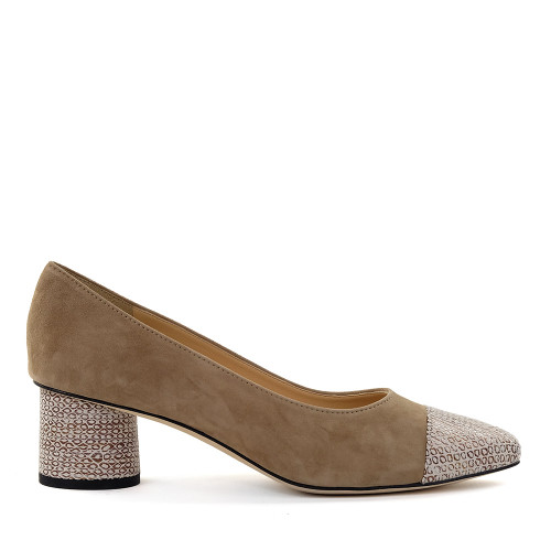 Brunate 50822 Taupe Suede side view - Hanig's Footwear
