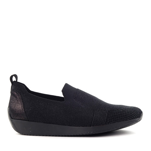 Ara Leena Black Woven side view - Hanig's Footwear