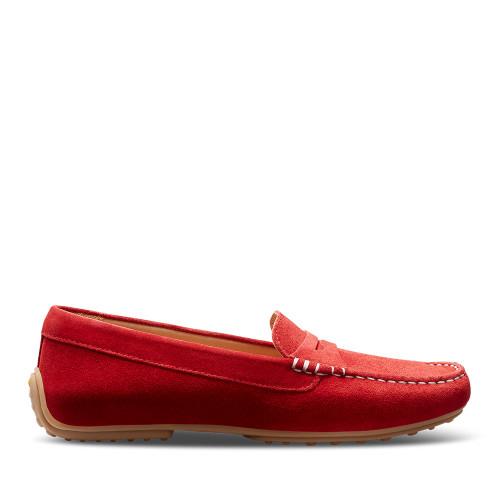 Samuel Hubbard  Hubbard Driver Moc Red side view - Hanig's Footwear
