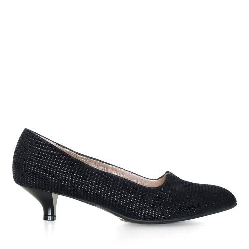 Beautifeel Mystique Black Linear Suede side view - Hanig's Footwear