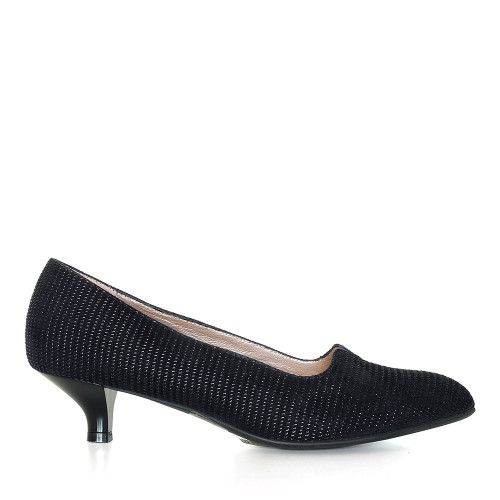 Beautifeel Mystique Black Linear Suede side view - Hanig's Footwear