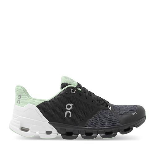 ON Running Cloudflyer Black/White side view — Hanigs Footwear