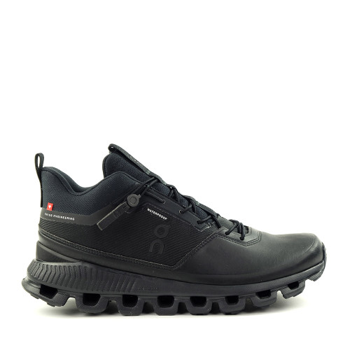 ON Running Cloud Hi Womens WP Black side view - Hanig's Footwear
