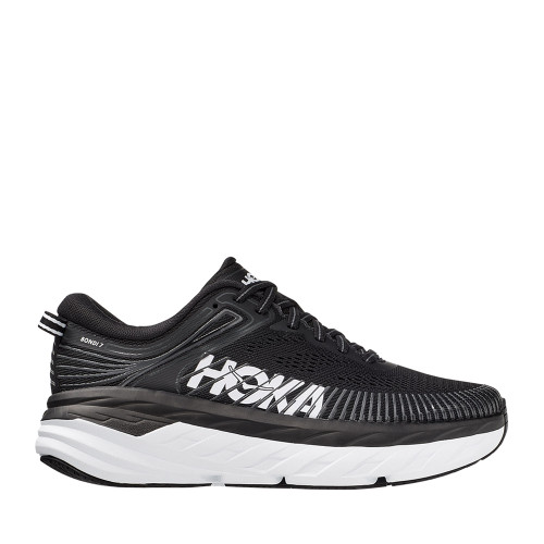 Hoka One One Bondi 7 Black/White Womens side view - Hanig's Footwear
